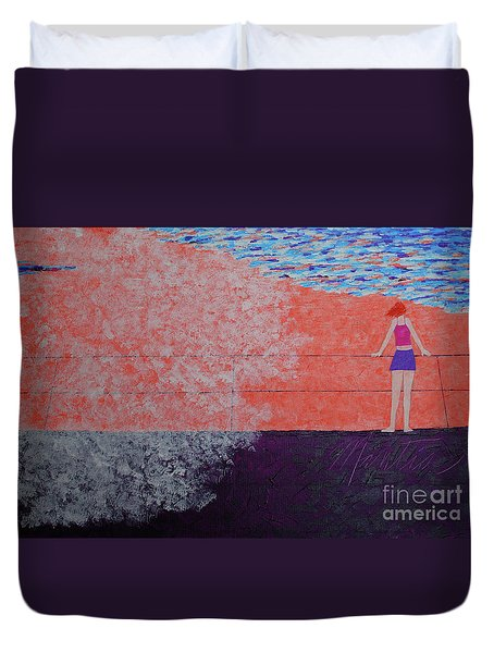 The Beach At Sunset Duvet Cover