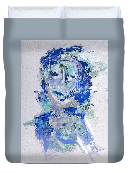 She Dreams In Blue Duvet Cover