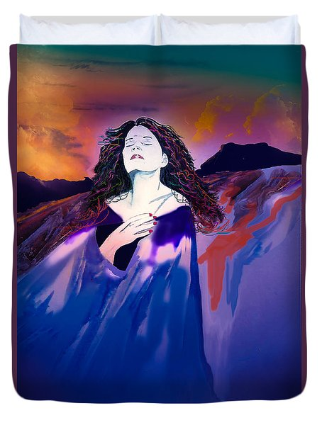 She Dreams In Rainbow Colors Duvet Cover by J Griff Griffin
