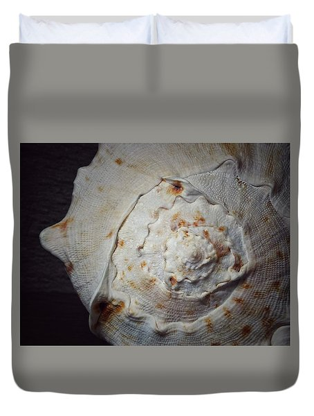 Duvet Cover featuring the photograph She Has A Seashell From The Seashore by Karen Stahlros