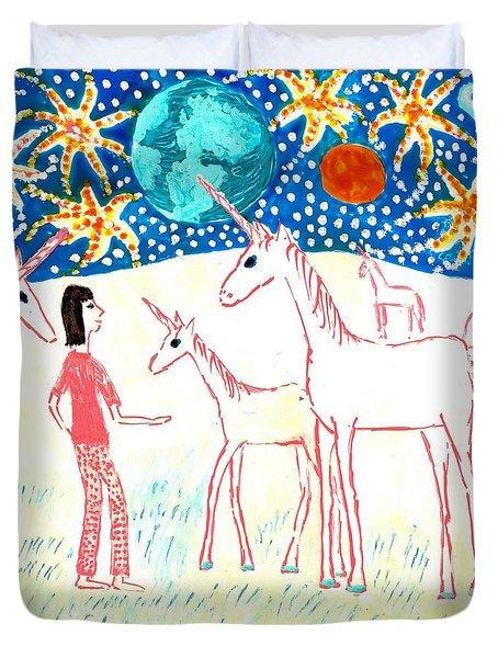 She Meets The Moon Unicorns Duvet Cover by Sushila Burgess