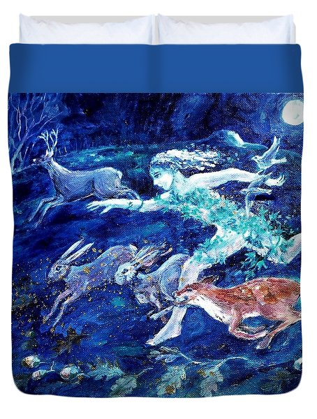 She Ran With The Hunted  Duvet Cover by Trudi Doyle