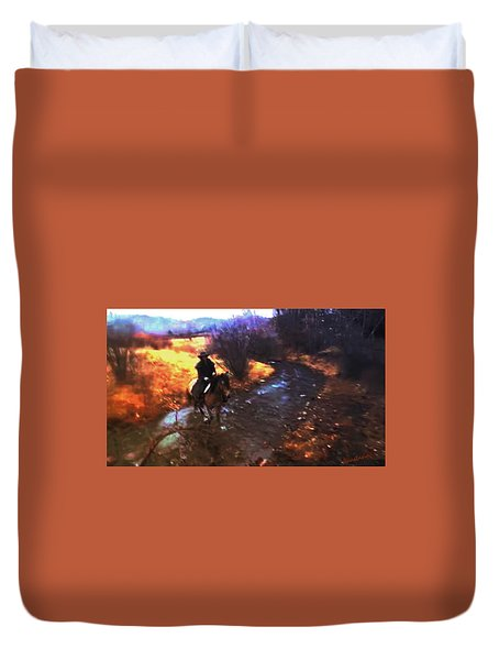 She Rides A Mustang-wrangler In The Rain Duvet Cover by Anastasia Savage Ealy