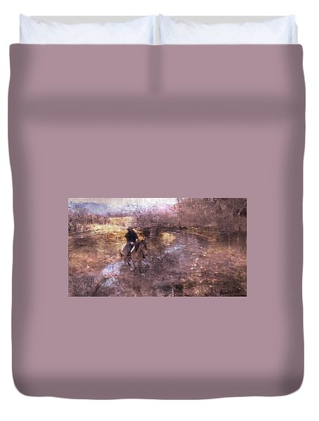 She Rides A Mustang-wrangler In The Rain II Duvet Cover by Anastasia Savage Ealy