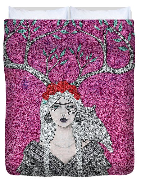 She Wears The Crown Duvet Cover by Natalie Briney