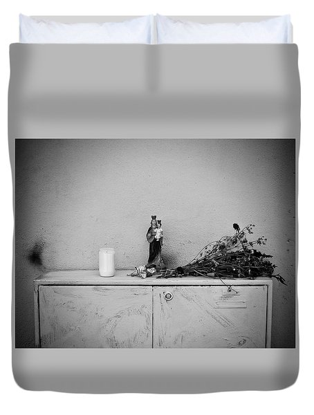 Duvet Cover featuring the photograph She Who Protects And Helps by Karen Stahlros