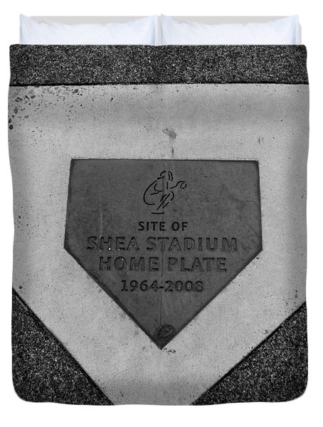 Shea Stadium Home Plate In Black And White Duvet Cover by Rob Hans