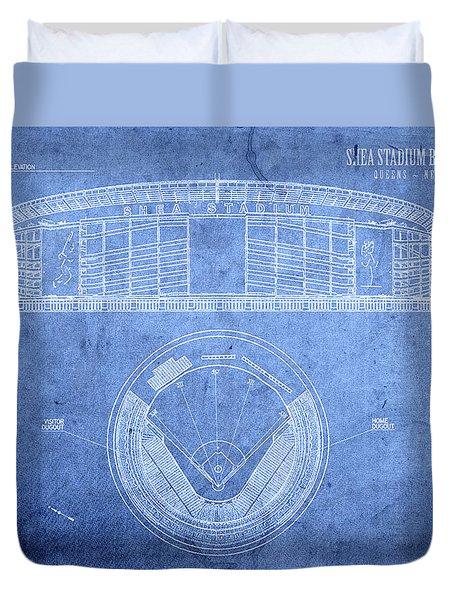 Shea Stadium New York Mets Baseball Field Blueprints Duvet Cover
