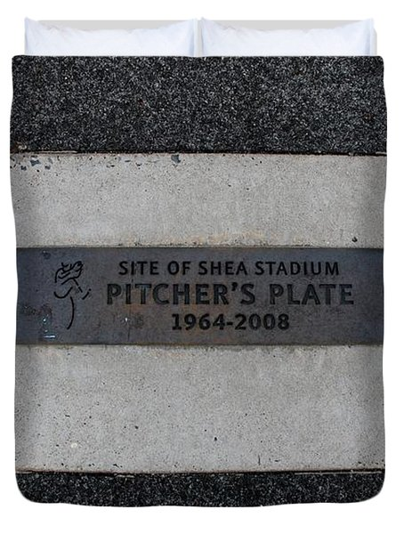 Shea Stadium Pitchers Mound Duvet Cover by Rob Hans