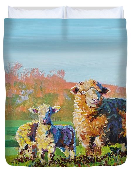 Sheep And Lambs In Devon Landscape Bright Colors Duvet Cover