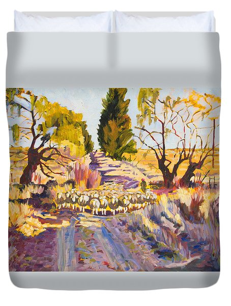 Sheep And Shepherd At Sunset Oil Painting Bertram Poole Duvet Cover