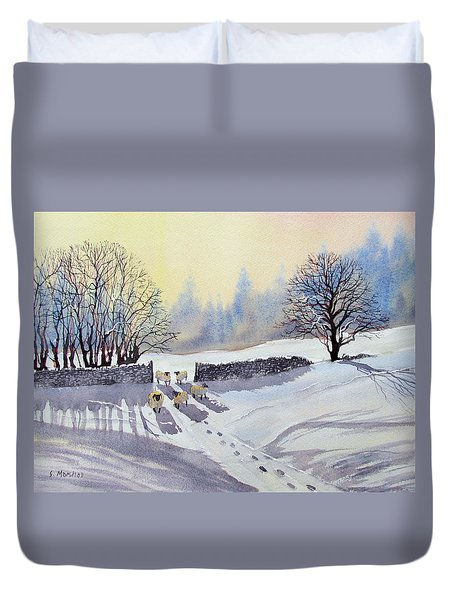 Sheep And Snow Study 2 Duvet Cover