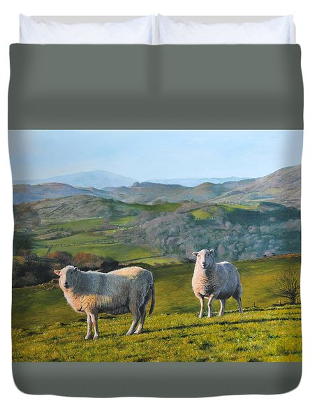 Sheep At Rhug Duvet Cover by Harry Robertson