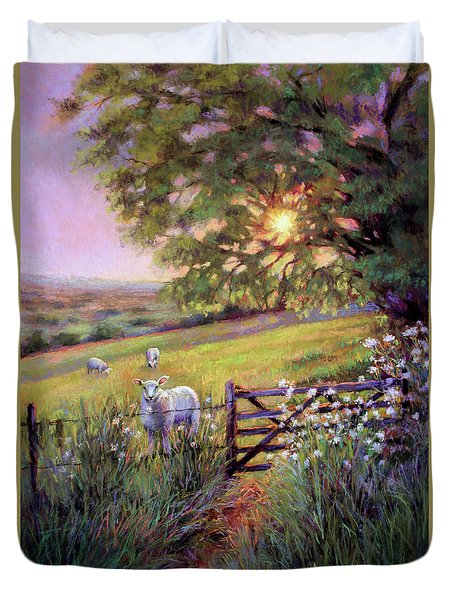 Sheep At Sunset Duvet Cover