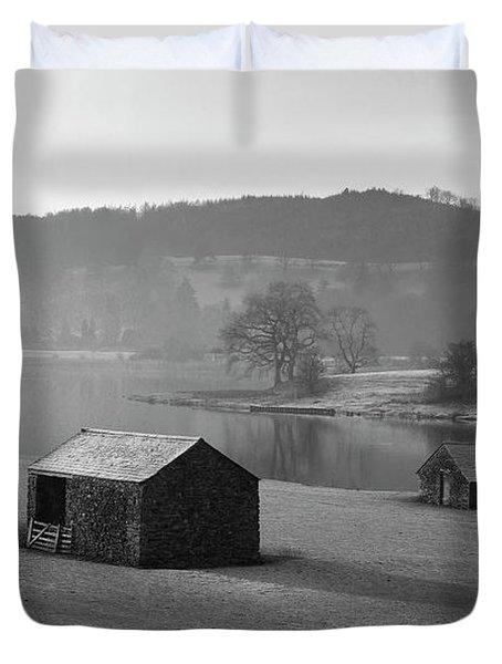 Sheep Barns,winter Morning,esthwaite Water,uk Duvet Cover