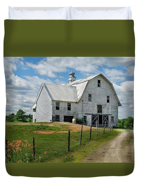 Sheep By The White Barn Duvet Cover