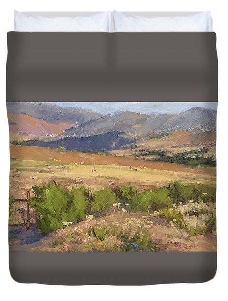 Sheep Gate Duvet Cover by Jane Thorpe