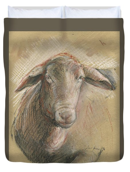 Sheep Head Duvet Cover by Juan Bosco