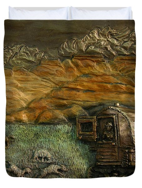 Sheep Herder's Wagon From Snowy Range Life Duvet Cover by Dawn Senior-Trask