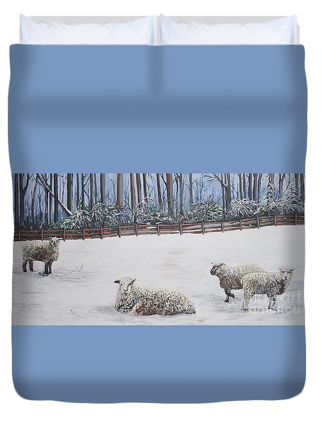 Sheep In Field Duvet Cover