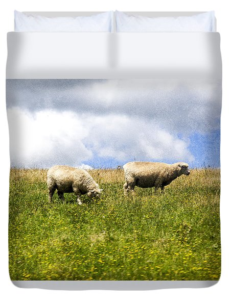 Sheep In New Zealand Duvet Cover
