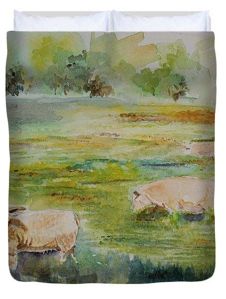 Sheep In Pasture Duvet Cover