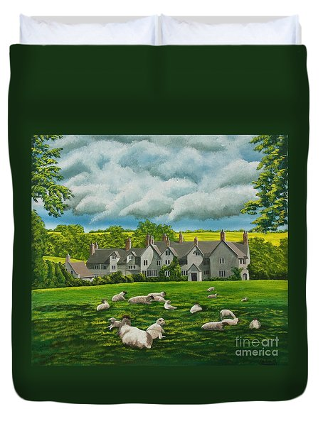 Sheep In Repose Duvet Cover by Charlotte Blanchard