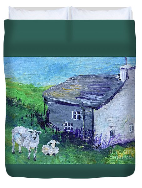 Duvet Cover featuring the painting Sheep In Scotland  by Claire Bull