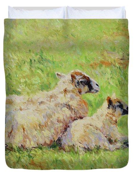 Sheep In The Spring Time,la Vie Est Belle Duvet Cover