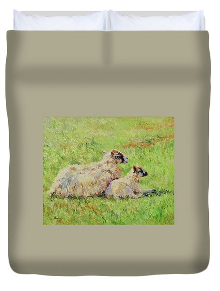 Sheep In The Spring Time,la Vie Est Belle Duvet Cover
