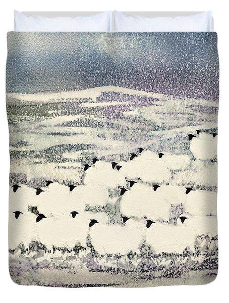 Sheep In Winter Duvet Cover by Suzi Kennett