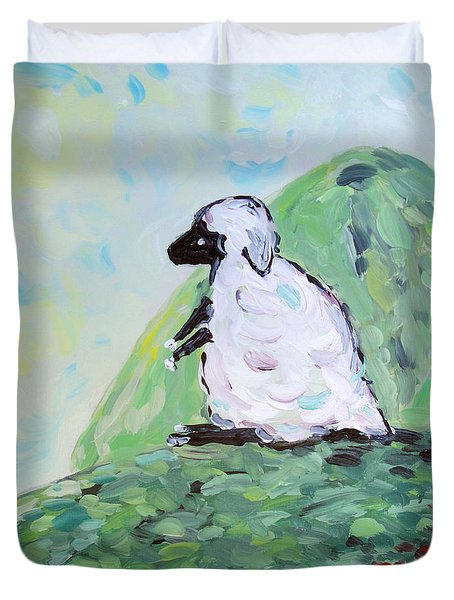 Sheep On A Hill Duvet Cover