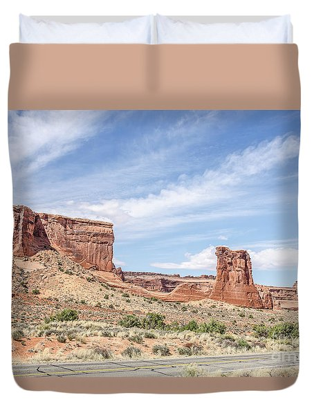 Sheep Rock In Arches National Park Duvet Cover by Sue Smith