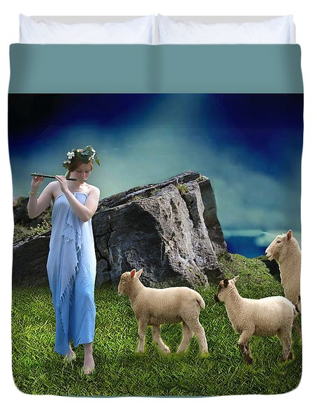 Duvet Cover featuring the mixed media Sheep Whisperer by Marvin Blaine