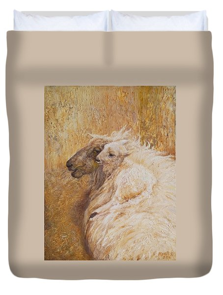 Sheep With A New Born Lamb Duvet Cover