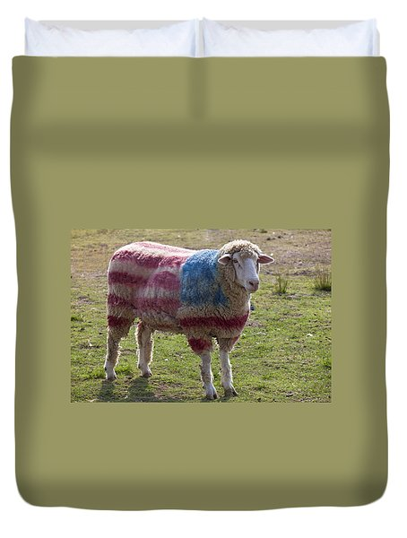Sheep With American Flag Duvet Cover by Garry Gay