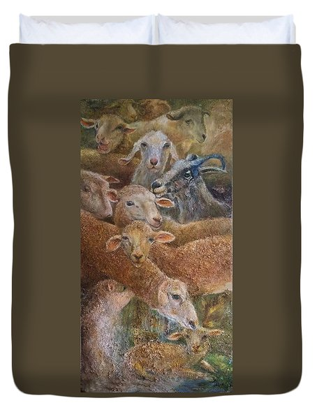 Sheep With Goats Duvet Cover
