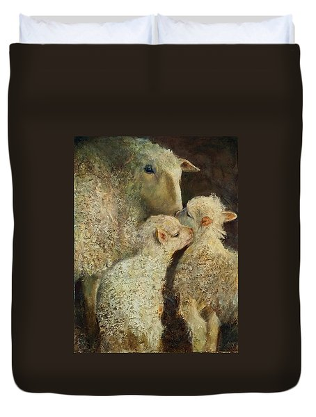 Sheep With Two Lambs Duvet Cover