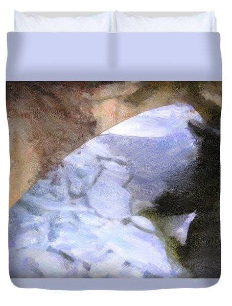 Shelburne Falls River Ice Duvet Cover