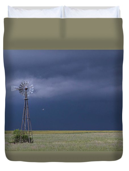 Shelf Cloud And Windmill -02 Duvet Cover