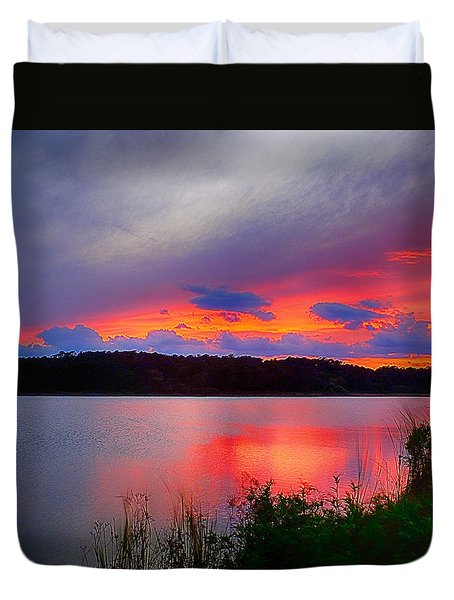 Shelf Cloud At Sunset Duvet Cover by Bill Barber