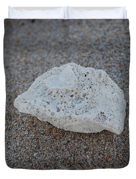 Duvet Cover featuring the photograph Shell And Sand by Rob Hans