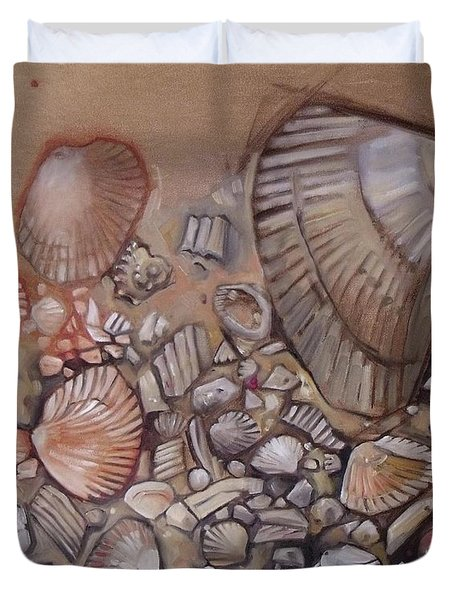 Shell Collection Beach Seashell Tan Clam Sand Duvet Cover