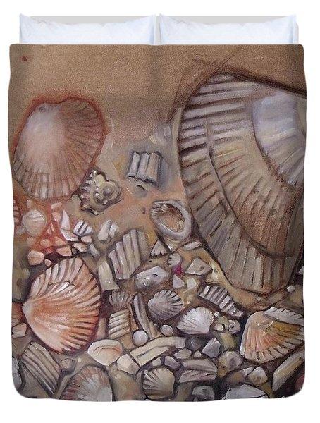 Shell Collection Beach Seashell Tan Clam Sand Duvet Cover