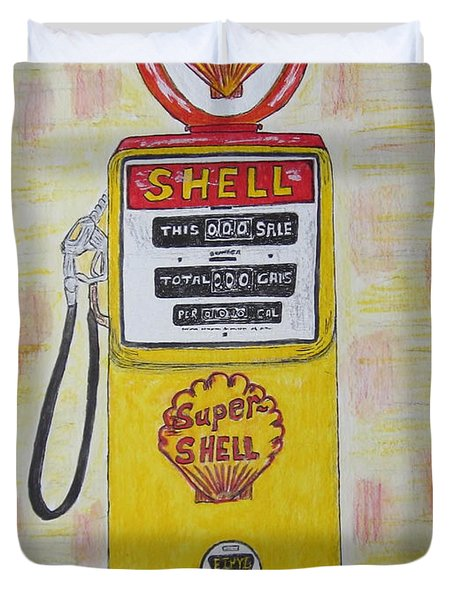 Duvet Cover featuring the painting Shell Gas Pump by Kathy Marrs Chandler