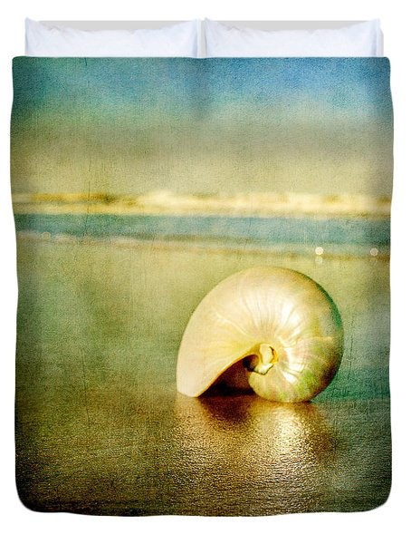 Duvet Cover featuring the photograph Shell In Sand by Linda Olsen