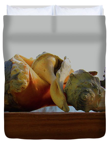Shells Of The Sea In Orange And Gray Duvet Cover