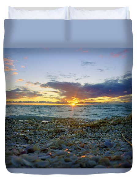 Shells On The Beach At Sunset Duvet Cover