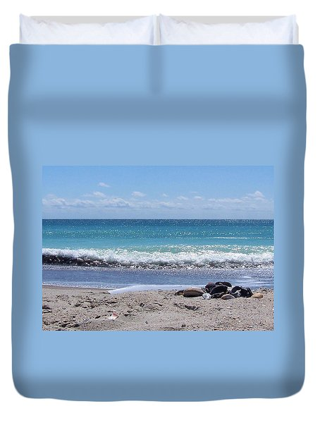 Duvet Cover featuring the photograph Shells On The Beach by Sandi OReilly