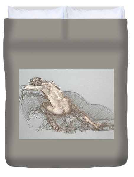 Duvet Cover featuring the drawing Shelly Back View by Donelli  DiMaria